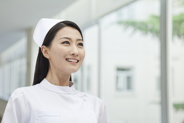 Portrait of Nurse, China, horizontal