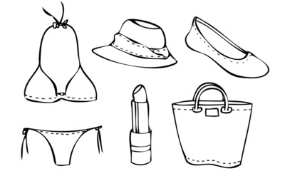 Isolated Illustrated Vectors of a Summer Beach Outfit for Woman
