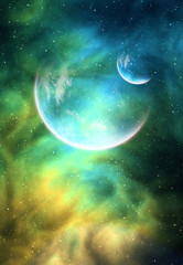 Background with a Planet, Moon and Nebula