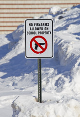 No Firearms Allowed on School Property Sign Full View