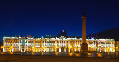 The Winter Palace from Palace Square in night