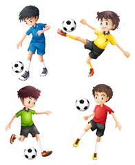 Four soccer players in different uniforms