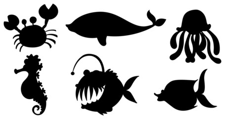 Sea creatures in black colors