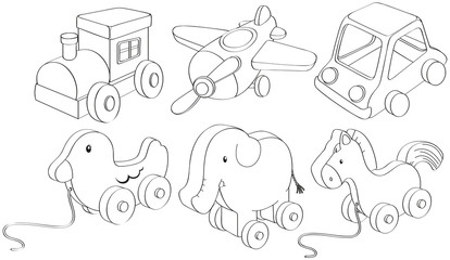 Doodle designs of toys