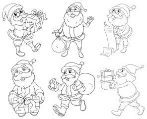 Different drawings of Santa Claus giving gifts