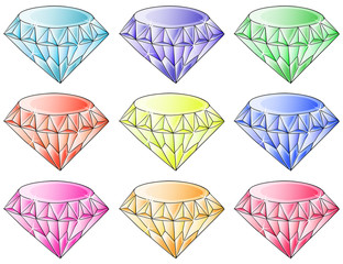 Different colors of diamonds