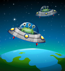 Foto op Canvas Schepselen Spaceships with aliens