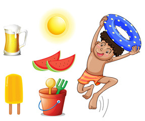 A boy with the different things for summer