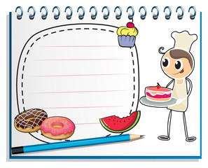 A notebook with a drawing of a chef and foods