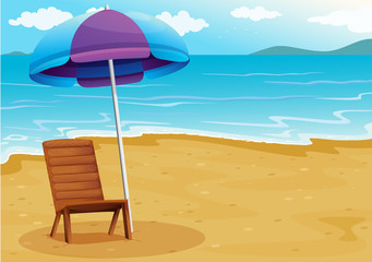 A beach with a relaxing wooden chair under an umbrella