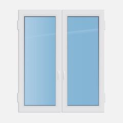 Vector illustration double casement plastic window