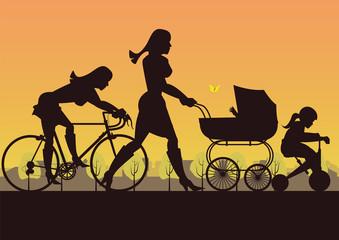 Mobilität mit Kinderwagen, Dreirad und Rennrad