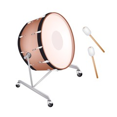 A Beautiful Classical Bass Drum on White Background