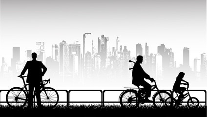 walk by bicycle a vector background