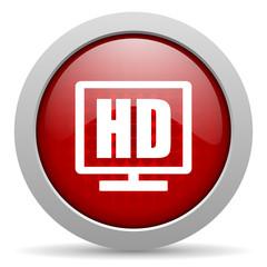 hd display red circle web glossy icon
