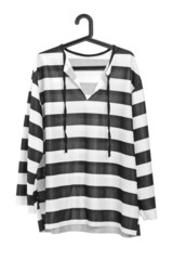 A studio shot of a black and white striped prison uniform on a h