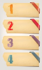Set of retro cardboard paper banners with color ribbon tags. Vec