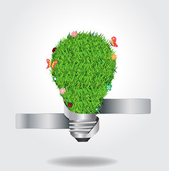 Vector light bulb with green grass ecological concept