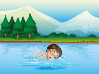 A boy swimming at the river