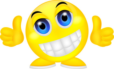 Smiley emoticon with thumb up