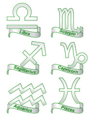 Zodiac signs on a white background