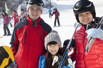 Family Smiling in Ski Resort