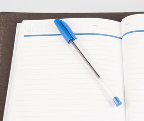 Open note book with lined pages free date space and ballpoint pe