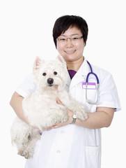 Portrait of female veterinarian holding a dog, studio shot