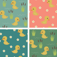 Seamless baby ducks wallpapers design.