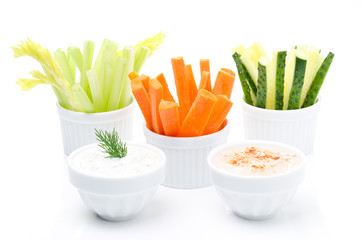 Assorted fresh vegetables and two sauce