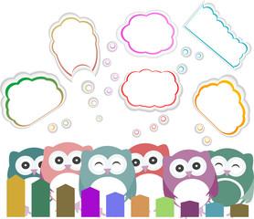 happy owl family with speech bubble
