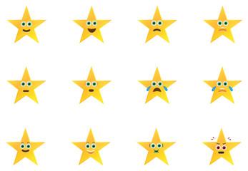 Gold Stars Emoticons Set
