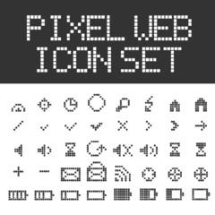 Vector pixel web icons set