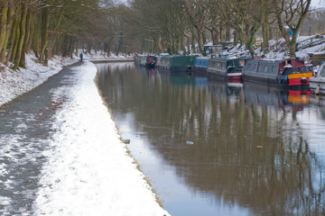 Winter mooring on the Leeds & Liverpool Canal, Lancashire