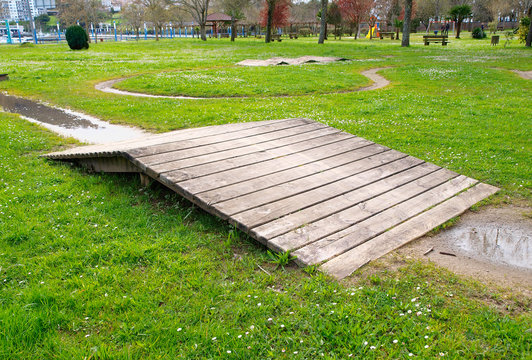 Wooden ramp in a park
