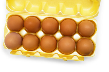 box yellow egg packaging grid isolated on white background