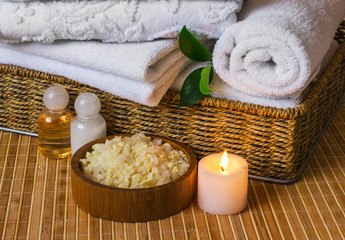 Spa with towels and candle