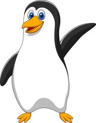 cute pinguin cartoon waving
