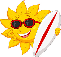 Cute sun cartoon character with surfing boad
