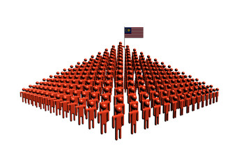 Pyramid of abstract people with Malaysia flag illustration