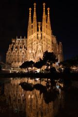Sagrada Familia reflected