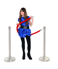 young model near stanchion barrier