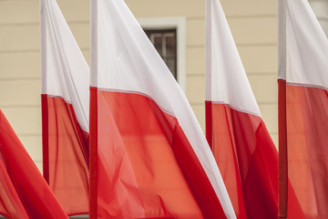 Polish flags on a background of wall.