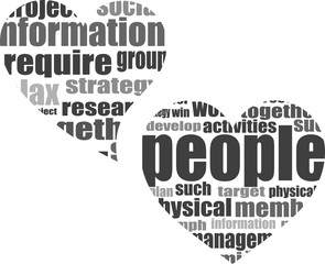 Info text graphic Listen with your heart in word cloud isolated