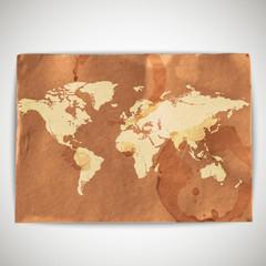 illustration of world map on cardboard grunge background