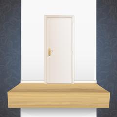 White door on shelf.