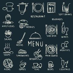 Chalk drawn restaurant menu design elements on blackboard
