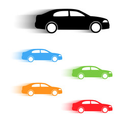 Set of moving cars silhouettes