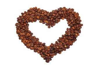 Heart laid out from coffee beans