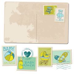 Vintage Baby Boy Arrival Postcard - for design or scrapbook